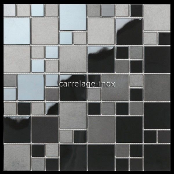 Mosaique En Inox Noir Mat Et Miroir Credence Cuisine Oken