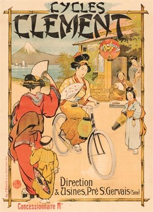 Cycles Clement Japanese women and children poster print - Beautiful Vintage Poster Reproduction. French cycles poster features Asian women riding a bicycle, and Japanese people and kids staring at her. Giclee Advertising Vintage Prints. Classic Poster