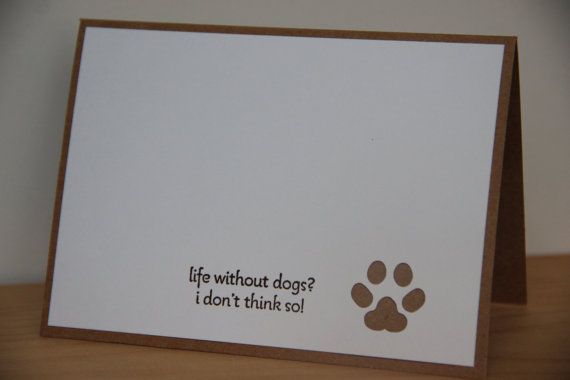 Dog Note Card Set.  Paw Print Card Set.  Life with by DandACards
