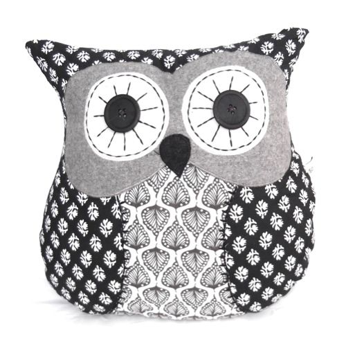 coussin hibou chester 35 cm patchwork noir et blanc fait main hiboux pinterest patchwork. Black Bedroom Furniture Sets. Home Design Ideas