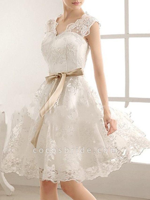 A Line Knee Length Lace Wedding Dress