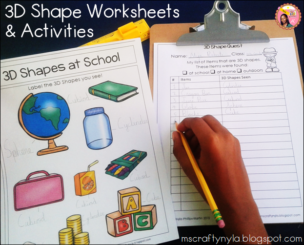 3D Shape Worksheets... a hunt for the real world examples around us ...