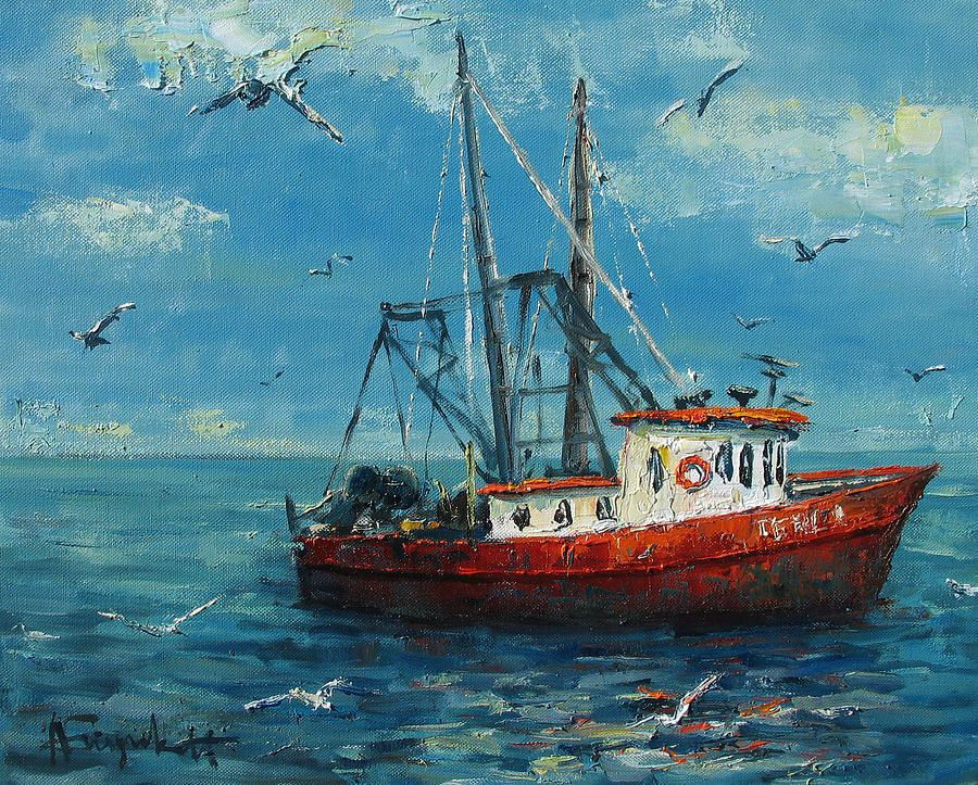 Fishing Boat Painting By Alexei Biryukoff Boat Art Fish
