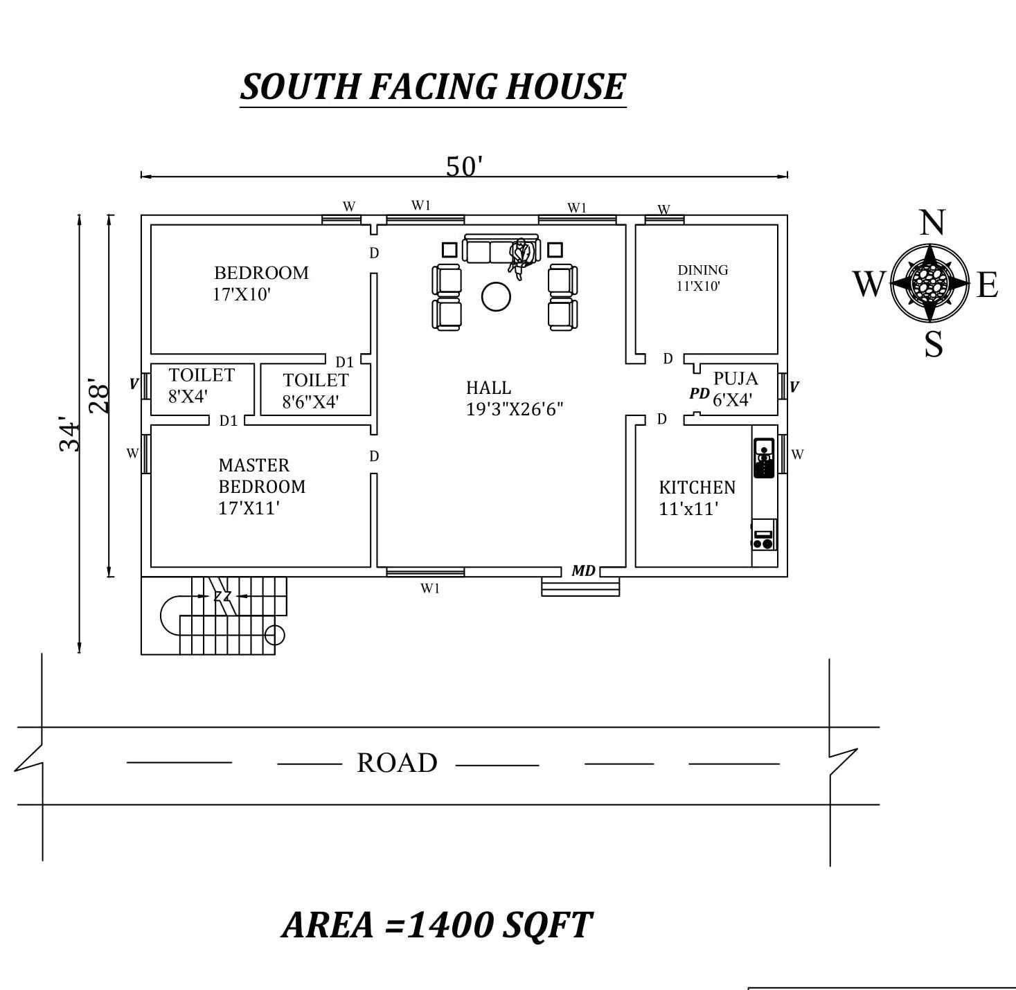50 x34 2BHK South Facing House Plan As Per Vastu Shastra Cad Drawing File details