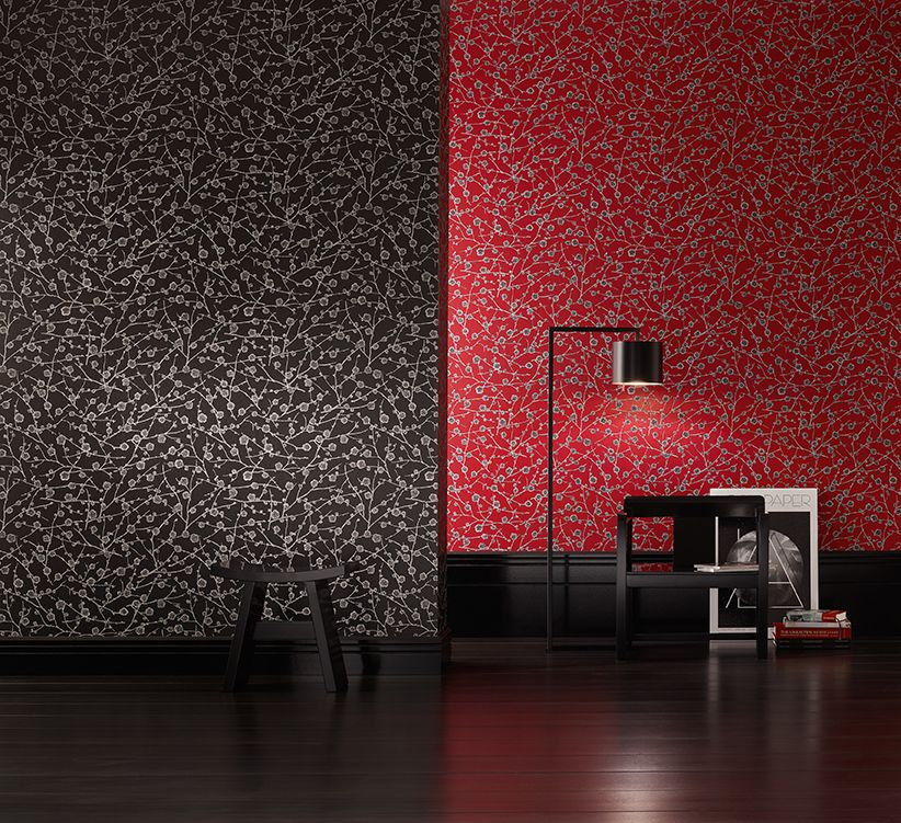 CHERRY by SAHCO - the delicate organic motif of Japanese cherry twigs on this wallpaper is emphasised by the slightly shiny, smooth lacquer background.