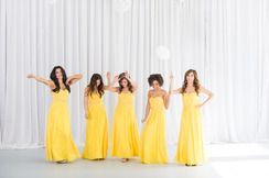 identically dressed attendants, photo shoot, bridesmaids dresses, Yellow, White, Bridesmaids, New York, Pastel Dress Party