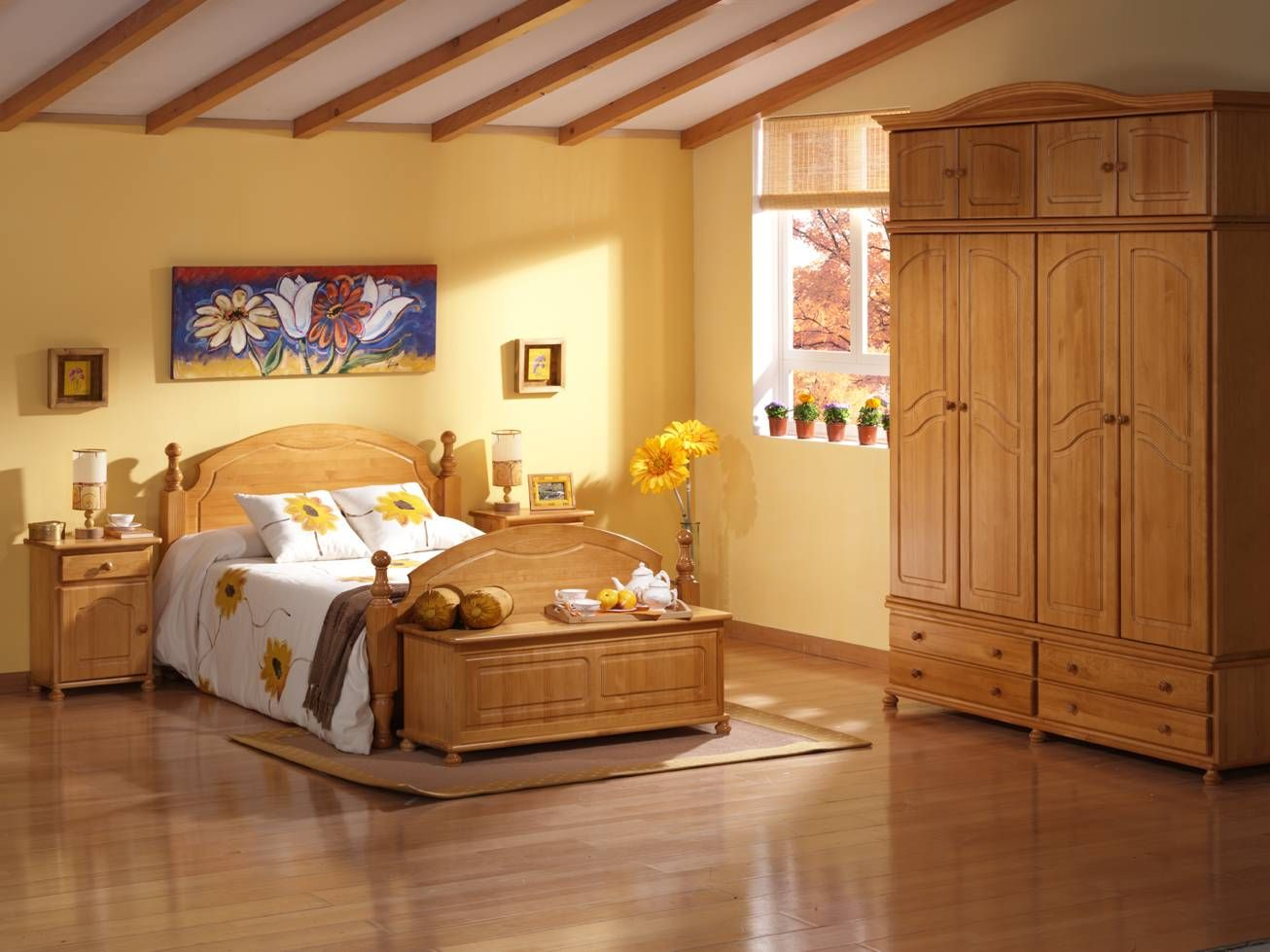 Armario 4 puertas provenzal dormitorios provenzal pino for Puertas de madera para dormitorios