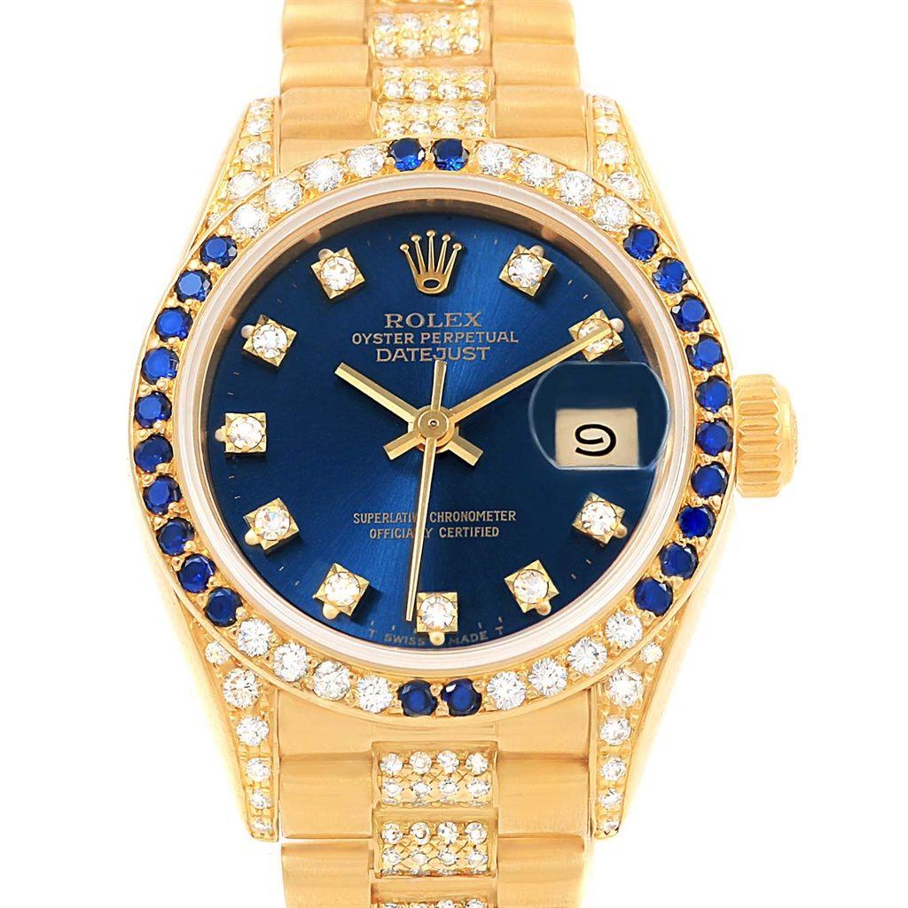 rolex president yellow gold diamond sapphires ladies watch