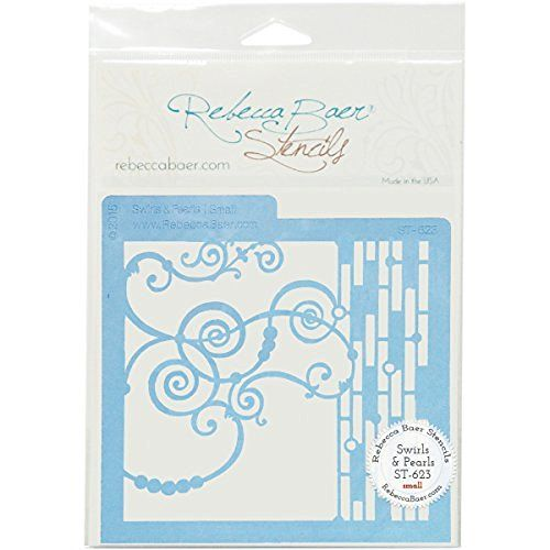 "Rebecca Baer ST-623 Swirls & Pearls Decorative Stencils, 5.75"" by…"