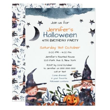 Cute witches kids birthday halloween invitation invitations cute witches kids birthday halloween invitation invitations personalize custom special event invitation idea style party filmwisefo Gallery