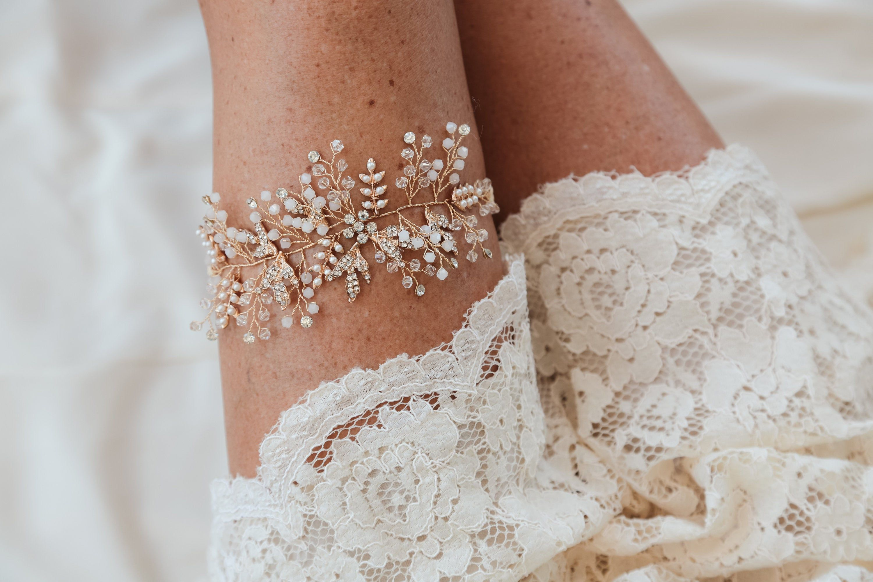 Wedding ivory garter set with flowers and crystals