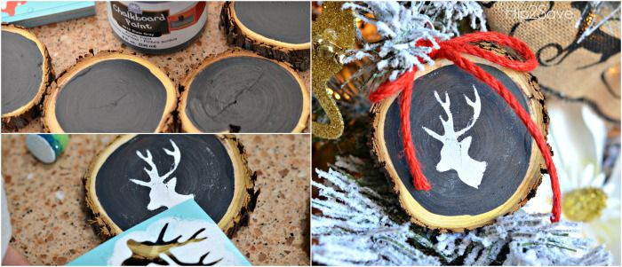 Chalkboard Painted Sliced Wood Ornaments Hip2Save