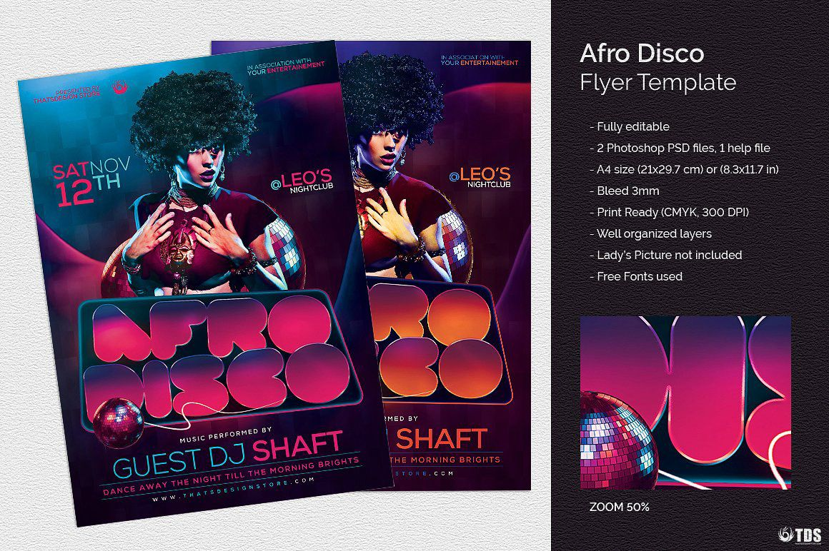 Afro Disco Flyer Template  Flyer Template