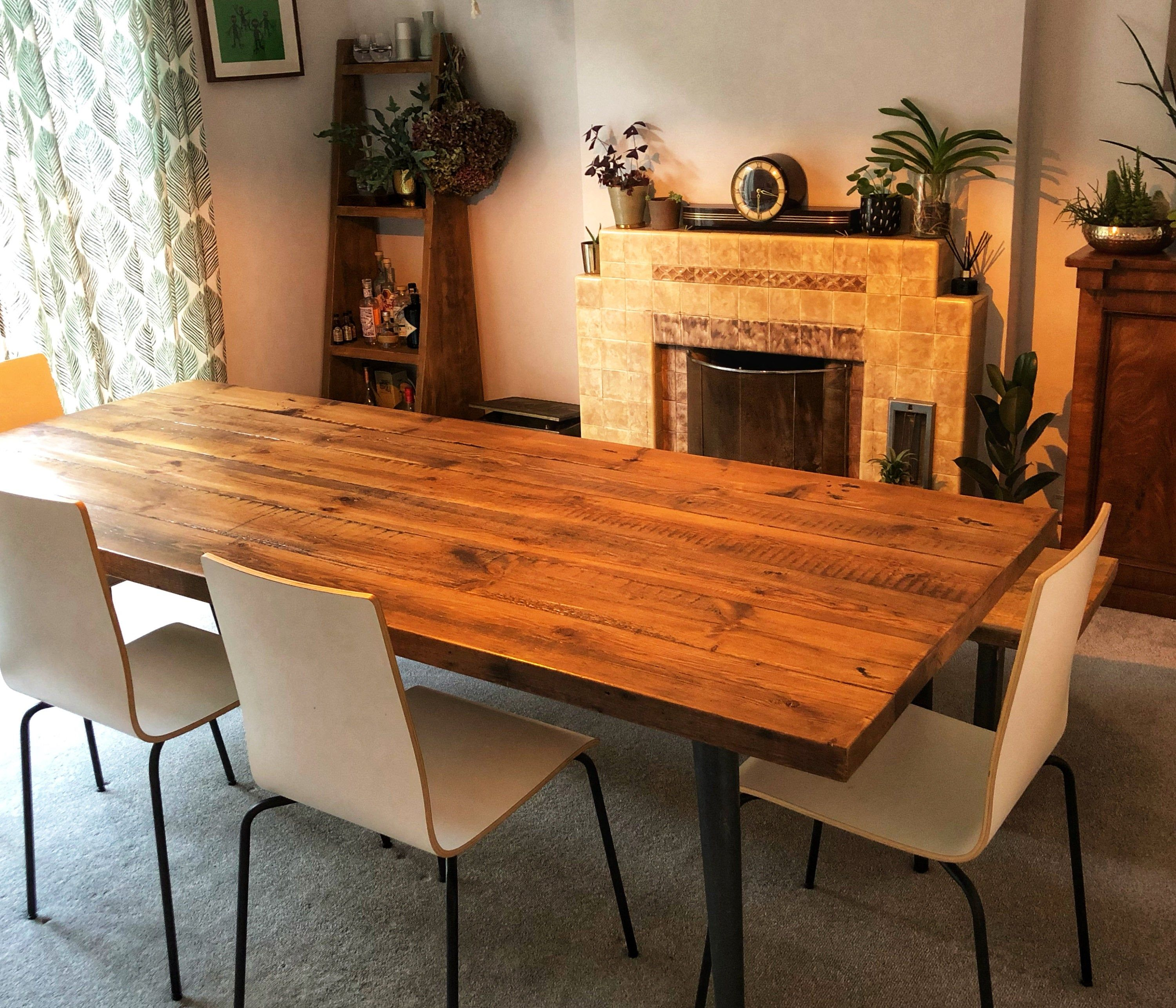 Heavy Rustic Dining Table Made From Reclaimed Wood On Tapered