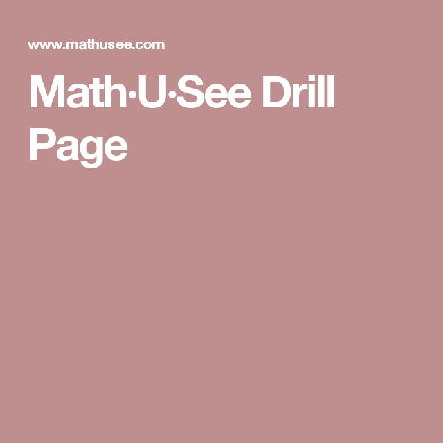 Math U See Drill Page