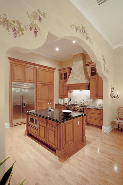 french country kitchen oak cabinets dark granite counter tops and