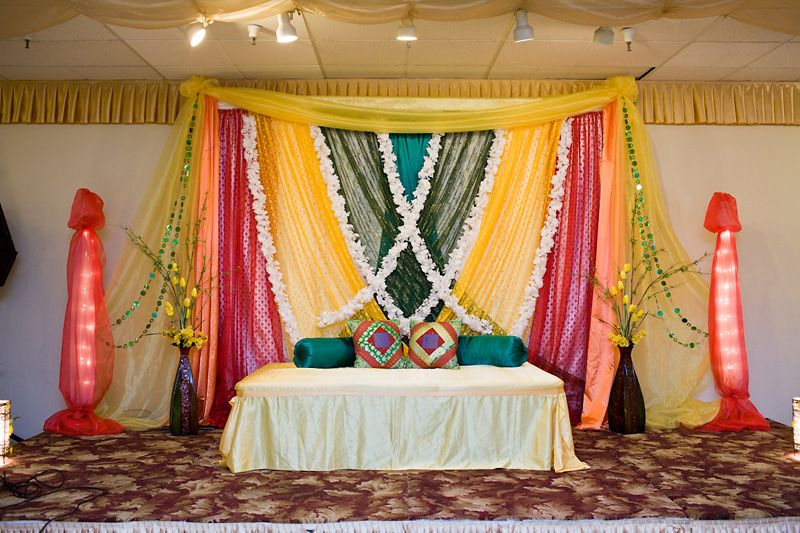Home Decoration In Punjabi Wedding : Perfect stage for mehndi night indian wedding decor
