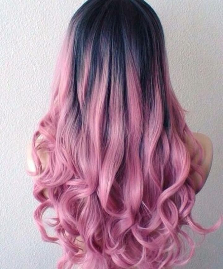 Charcoal And Cotton Candy Pink Ombre Hair Hair Styles Pink Ombre Hair Bold Hair Color