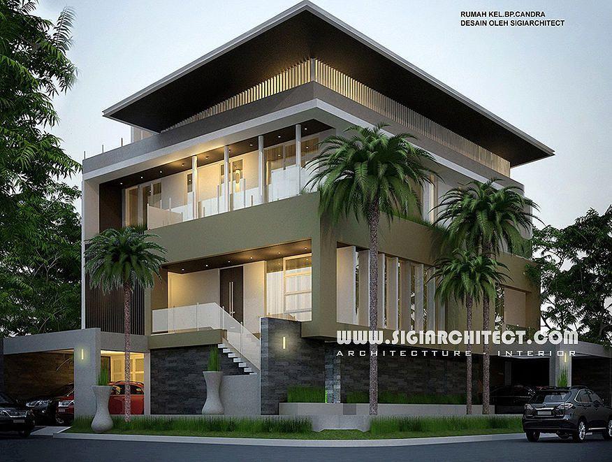 Desain Rumah Mewah Hook 3-4 Lantai, Modern Minimalis, Peruntukan Fungsi  Lantai Atap Sebagai Paviliu…   Desain Eksterior Rumah, Desain Rumah  Kontemporer, Rumah Mewah