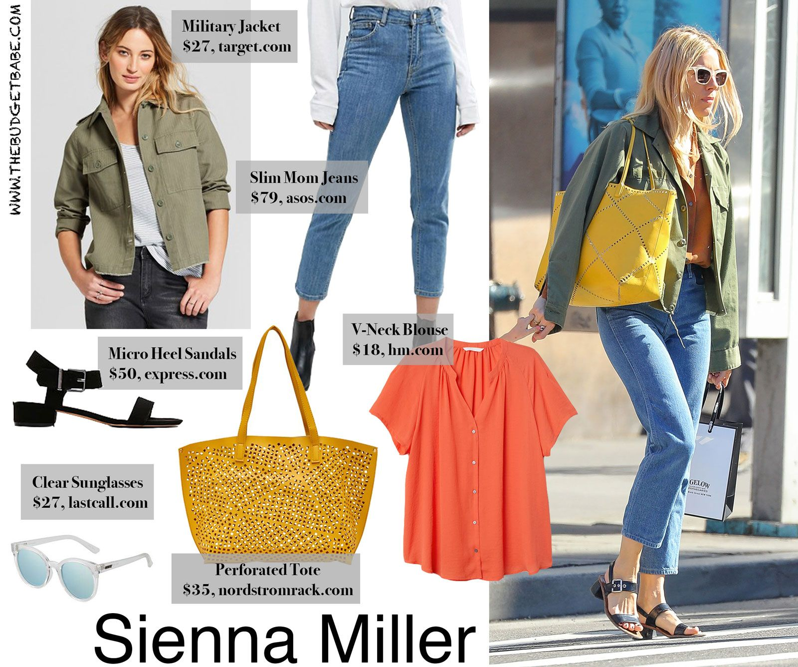 719f23096bb6b Sienna Miller's Army Jacket and Yellow Tote Look for Less - The Budget Babe  | Affordable Fashion & Style Blog