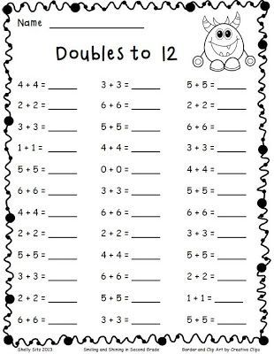 math worksheet : adding doubles and a freebie to develop speed on this important  : Math Doubles Worksheets