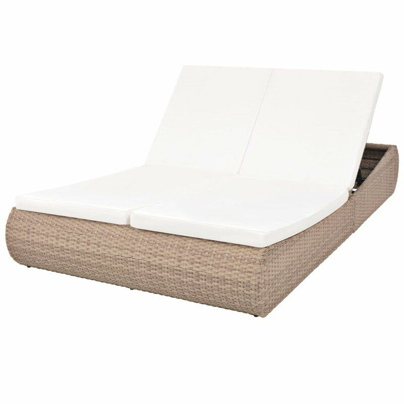 Voorhies Double Reclining Chaise Lounge With Cushions In 2020 Sun Lounger Pool Furniture Outdoor Lounge