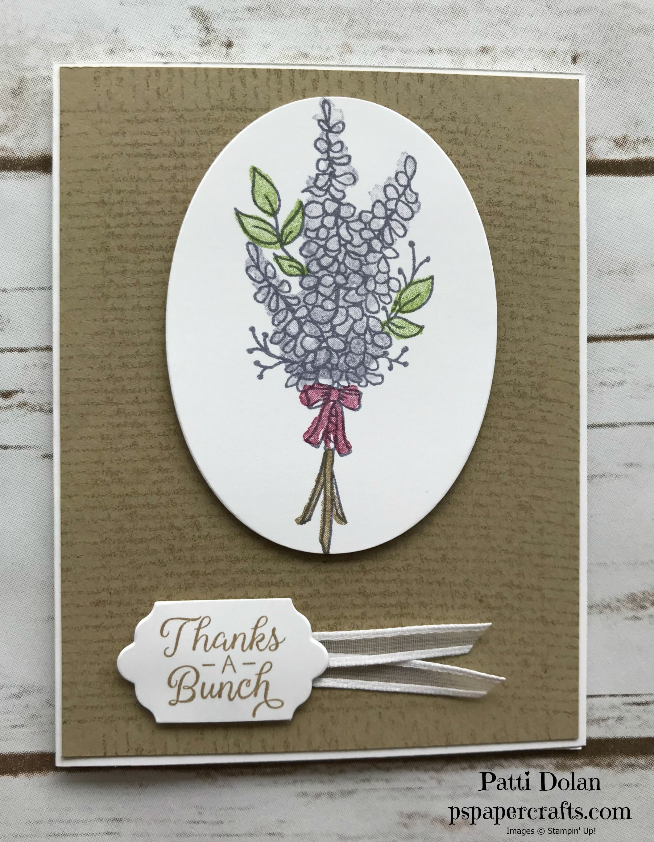 Lots Of Lavender Thank You Card P S Paper Crafts Lavender Stamp Cards Handmade Thank You Cards