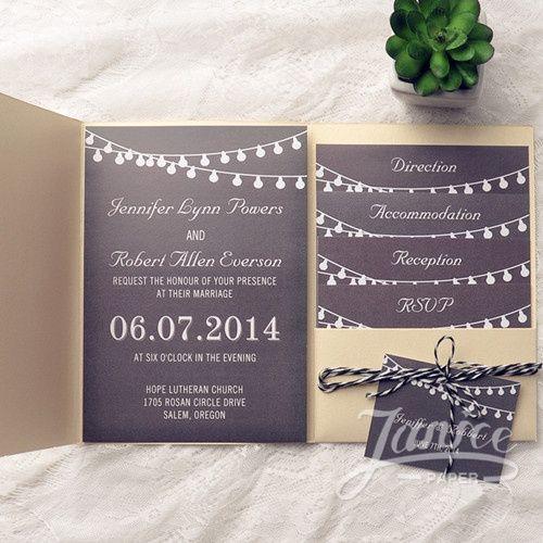 Unique Gold Pocket Chalkboard String Lights Wedding Invitations