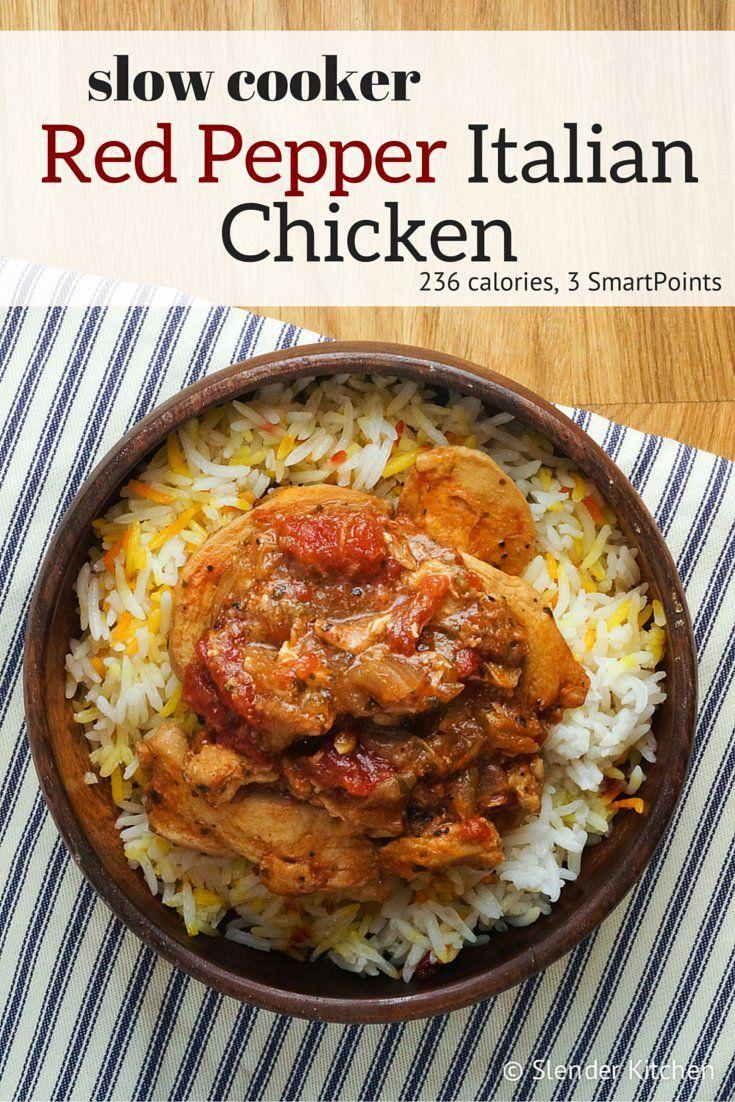 slow cooker italian red pepper chicken - slender kitchen | nom nom