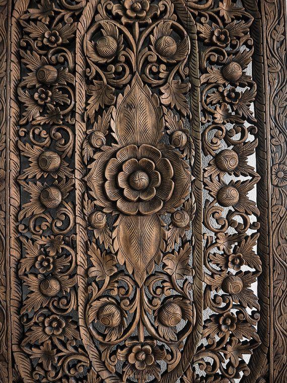 Balinese Bed Headboard Teak Carved Wood Wall Art By Siamsawadee