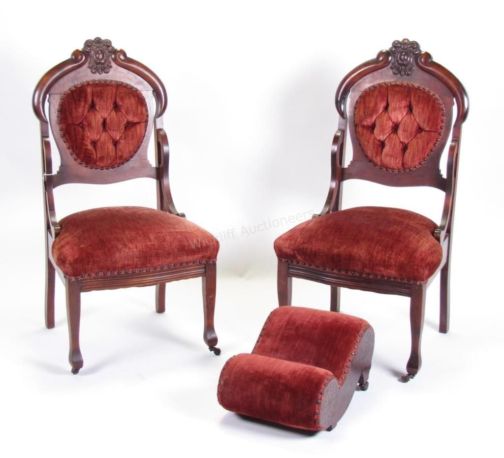 Pair of antique Victorian carved chairs with nailhead trim, newer  upholstery #Victorian #chairs #wickliffauction - Pair Of Antique Victorian Carved Chairs With Nailhead Trim, Newer