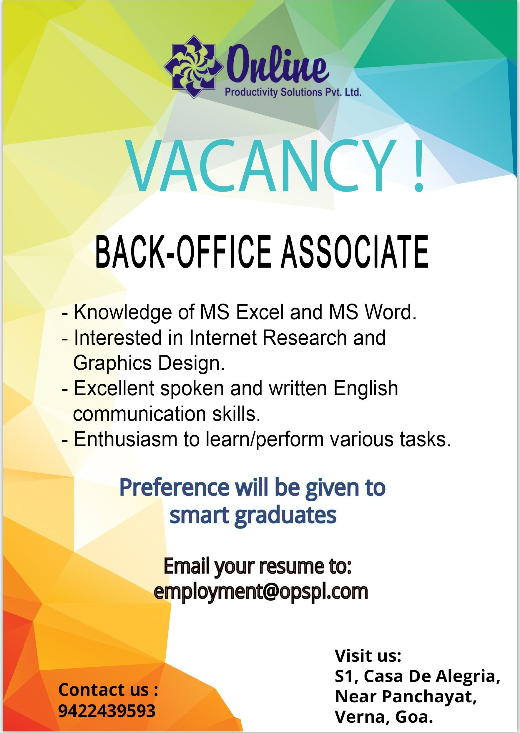 Job #Vacancy Looking for smart #Graduates to work as a Back-Office ...