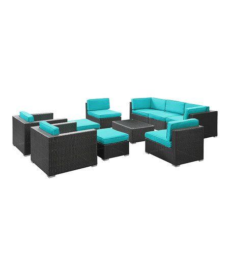 Espresso & Turquoise Avia 10-Piece Sectional Sofa Set