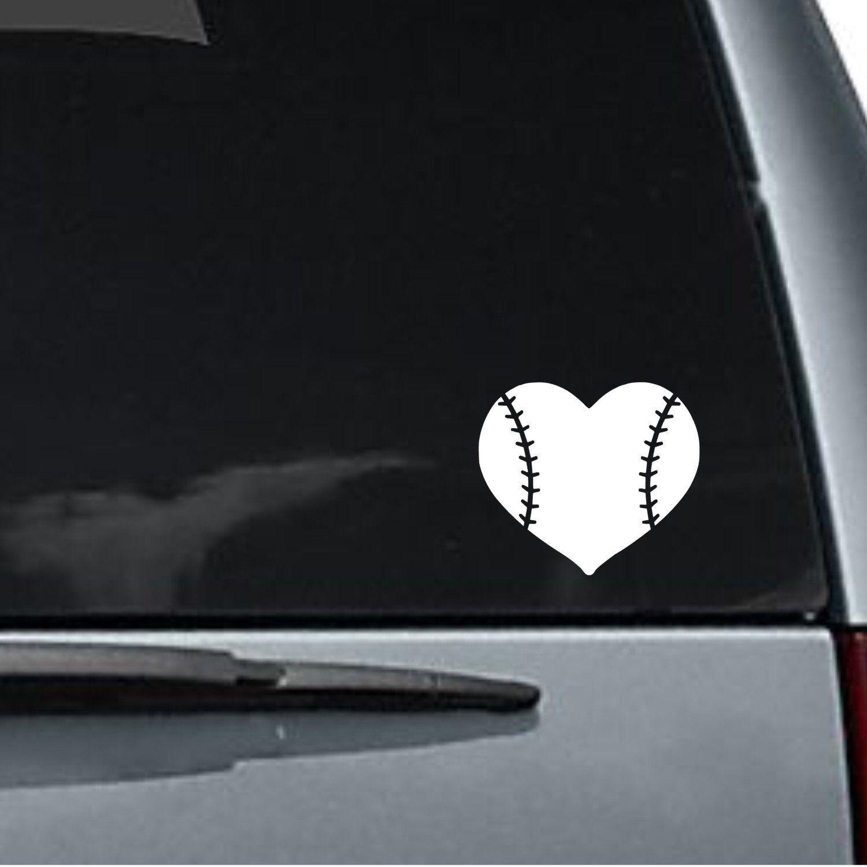 Baseball Or Softball Vinyl Car Decal Sticker Car Decal Auto Decal Permanent Vinyl Decal Custom Text Softball Car Decals Baseball Car Decals Car Decals Stickers [ 1500 x 1500 Pixel ]