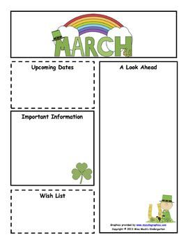 Customizable March Newsletter  Color  B  Classroom Organization