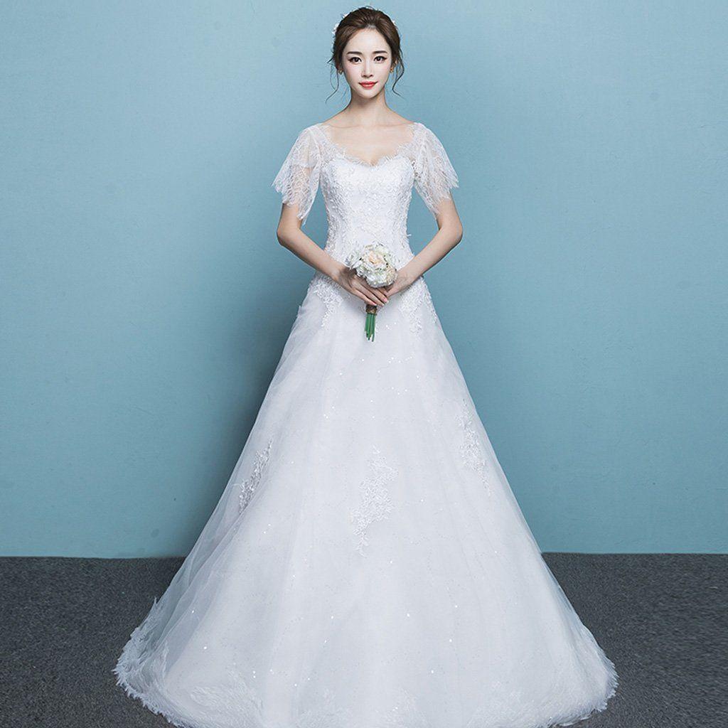 Long Wedding Dress, Lace Wedding Dress, Tulle Bridal Dress, 1/4 ...