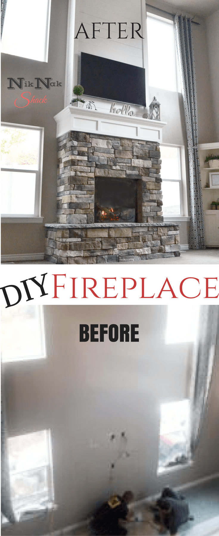 Check out this diy story fireplace tutorial love the stone