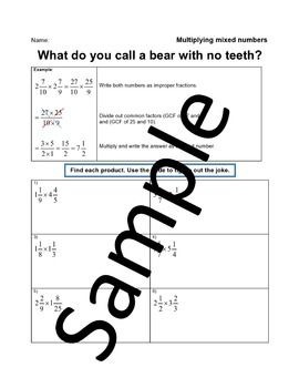 Multiplying Mixed Numbers Joke Worksheet Mixed Numbers Multiplying Mixed Numbers Jokes
