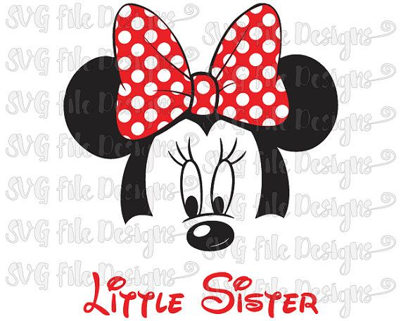 Little Sister Minnie Mouse Ears & Bow Disney Shirt Decal Cutting File / Clipart in Svg, Eps, Dxf, and Jpeg Format for Cricut and Silhouette