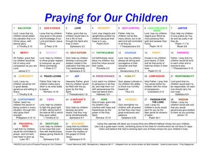 Calendar for praying for your kids-- love that it includes