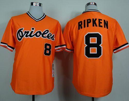 bcbbbc363 Mitchell and Ness 1982 Orioles  8 Cal Ripken Orange Throwback Stitched MLB  Jersey