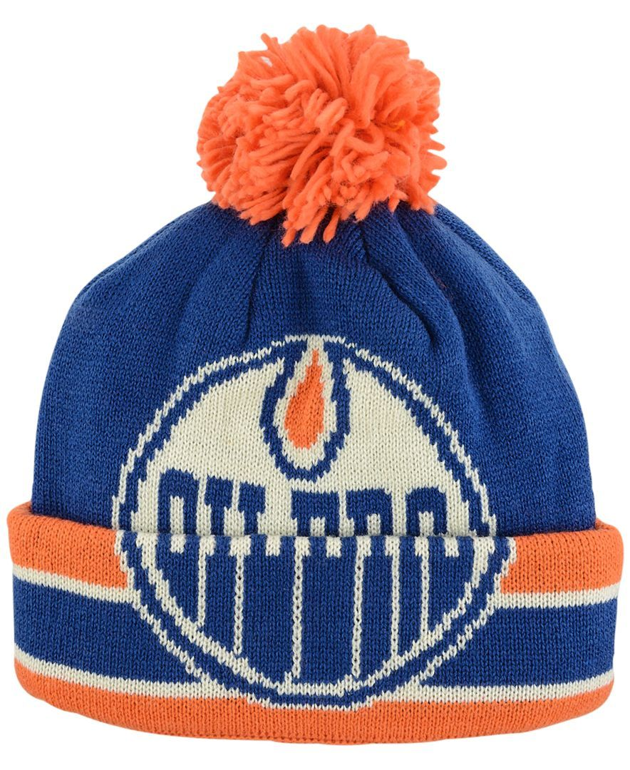 Ccm Edmonton Oilers Oversized Logo Cuffed Pom Knit Hat Sports Fan Shop By Lids Men Macy S Knitted Hats Knitting Hats