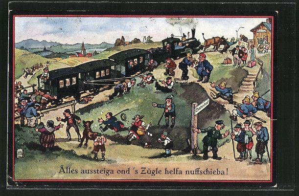 carte postale ancienne: CPA Illustrateur Hans Boettcher: Älles aussteiga ond's Zügle helfa nuffschieba!, chemin de fer am Hang