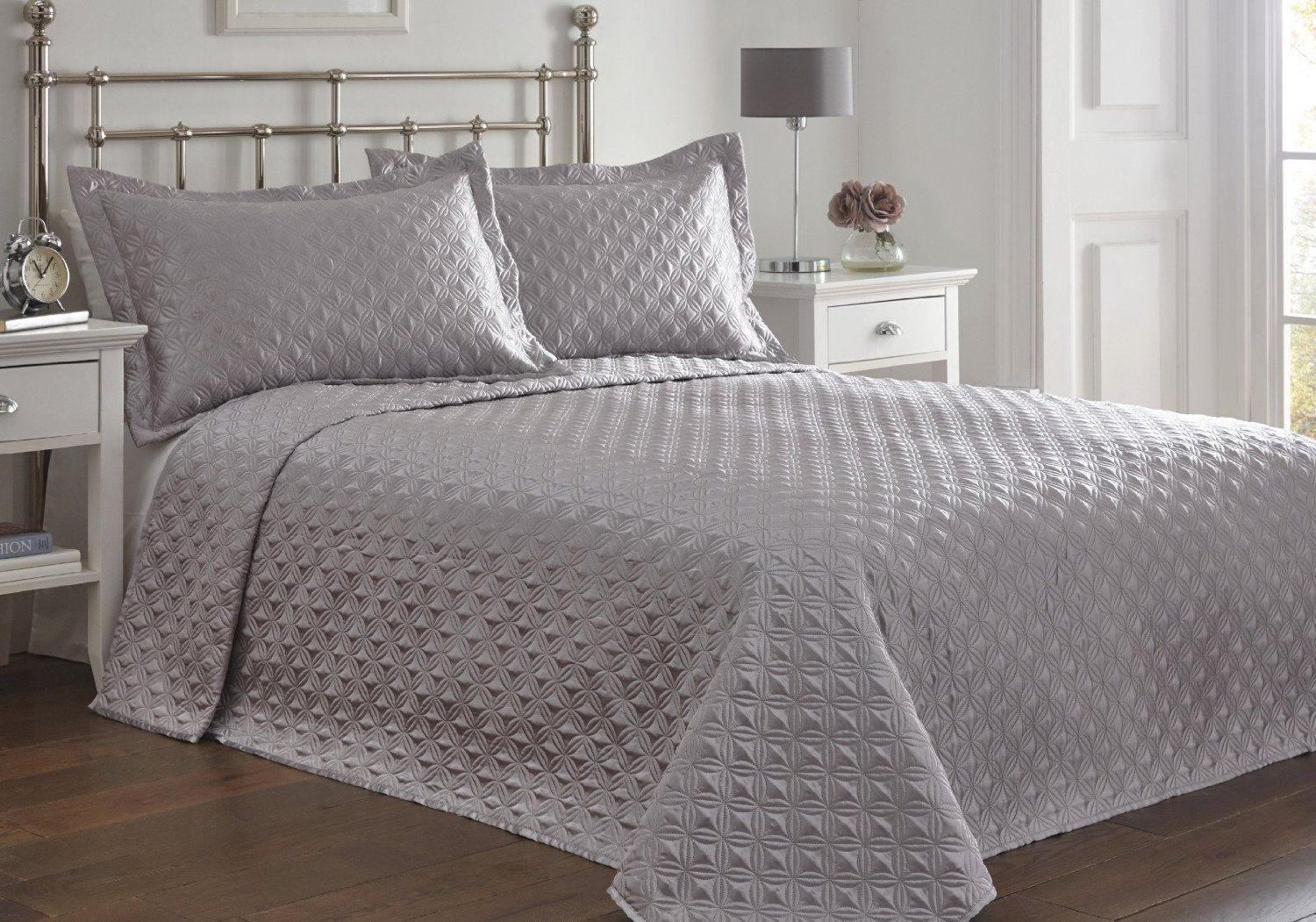 King Size Bed Regent Silver Bedspread Set Throw Over