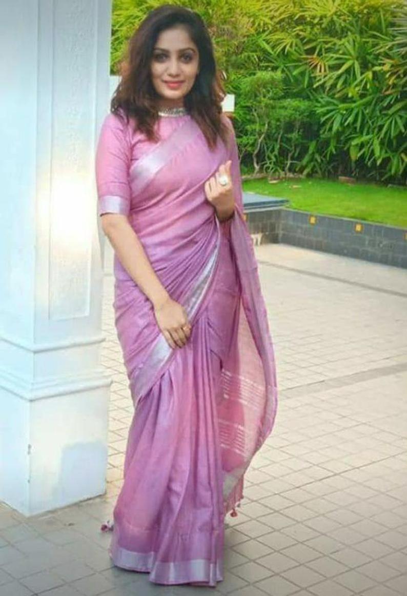 pure linen saree and blouse for women,saree dress,indian saree,wedding saree,saree for women,designer saree,traditional saree sari,saris