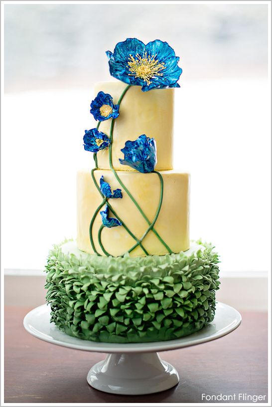 Blue Poppy Flowers Cake | Fancy Pants Cakes | Pinterest | Blue poppy ...