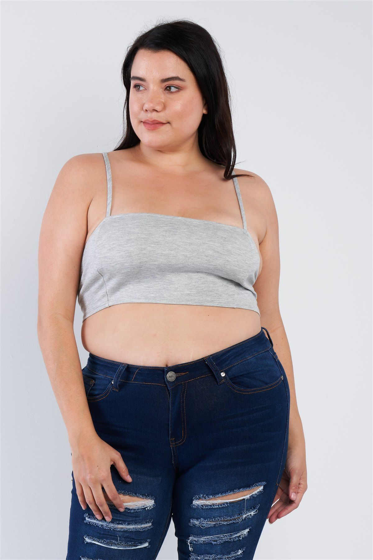 Made In U.S.A 1XL.2XL.3XL open stripe back, crop length, unlined, sports bra, casual, square neck, athletic, lounge wear, solid, very stretchy, 44% Polyester 44% Nylon 4% Spandex Grey TSH Plus Size Open Stripe Back Cami Strap Athletic Lounge Bra split
