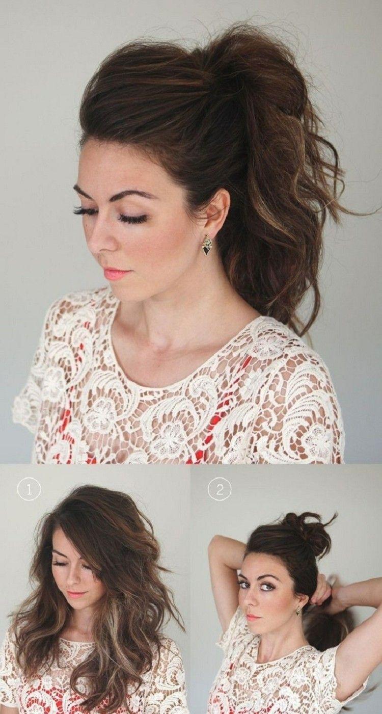 haarstyling retro idee pferdeschwanz doppelt einfachefrisur  Frisuren fr lange Haare  Frauen