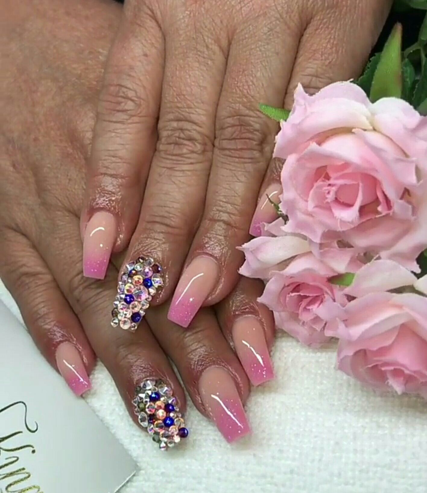 Pink coffin nails with jewels | Nails | Pinterest | Coffin nails