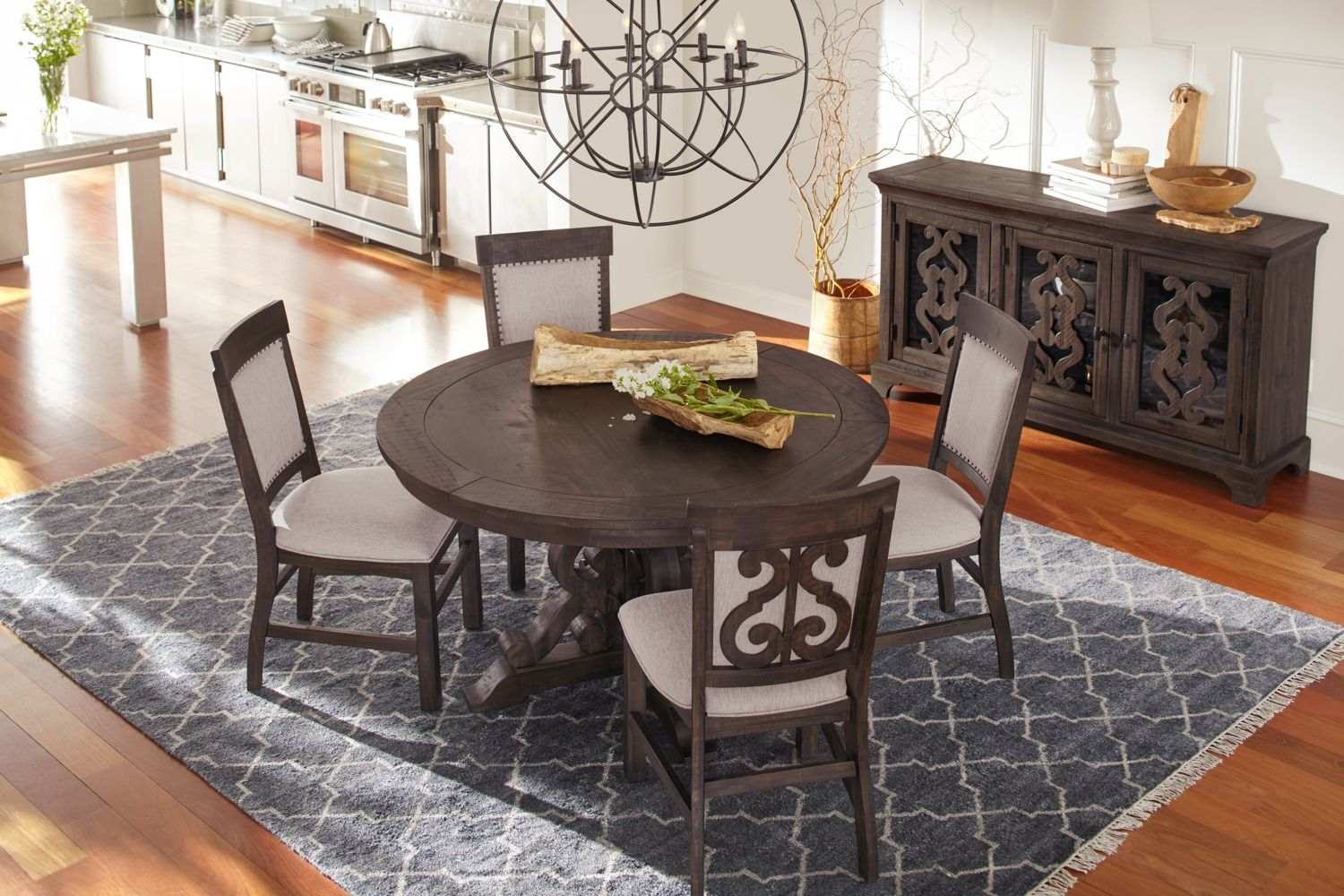 Charthouse Round Dining Table And 4 Upholstered Side Chairs Charcoal American Signature Furni Dining Table Upholstered Side Chair Upholstered Dining Chairs